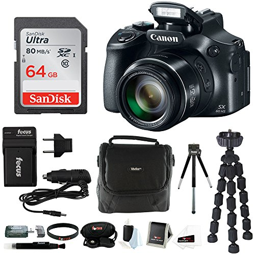 Canon PowerShot SX60 HS 65x Optical Zoom Digital Camera w/64GB SD Card Bundle