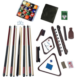 Hathaway Deluxe Billiards Mahogany Finish Accessory Kit, Multicolor