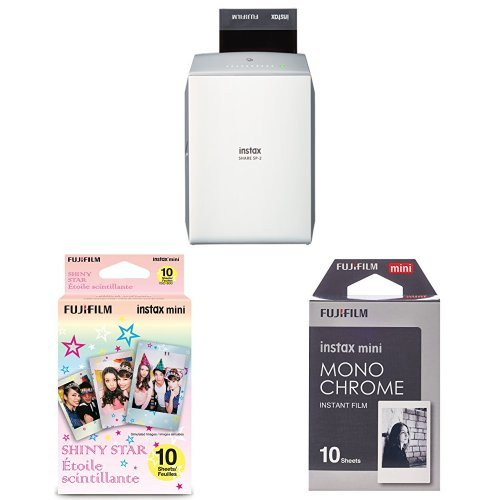 Fujifilm INSTAX SHARE SP-2 Smart Phone Printer (Silver) w/ Monochrome Film & Shiny Star Film – 20 Exposures Total