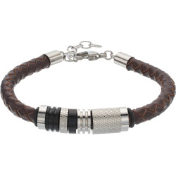 Focus FOR MEN Brown Leather & Stainless Steel Braided Bracelet, Silver