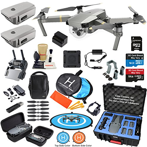 DJI Mavic PRO Platinum Drone Quadcopter Fly More Combo with 3 Batteries, Bundle Kit with Rugged Carrying Case & MUST HAVE Accessories