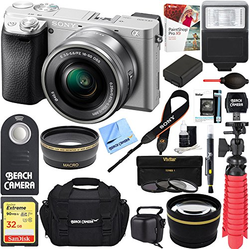 Sony a6300 4K Mirrorless Camera w/16-50mm Power Zoom Lens (Silver) + 32GB Accessory Bundle + DSLR Photo Bag + Extra Battery + Wide Angle Lens+2x Telephoto Lens + Flash + Remote + Tripod