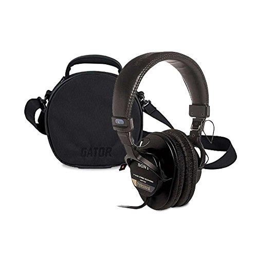 Sony MDR7506 Professional Large Diaphragm Headphone with Gator Cases G-Club Series G-CLUB-HEADPHONE Carry Case for DJ Style Headphones/Accessories