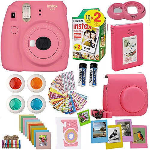 Fujifilm Instax Mini 9 Instant Camera Flamingo Pink + Fuji Instax Film Twin Pack (20PK) + Camera Case + Frames + Photo Album + 4 Color Filters And More Top Accessories Bundle