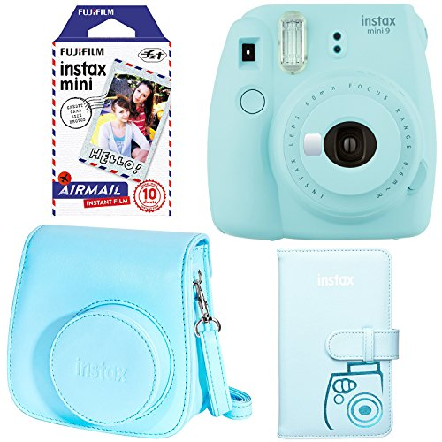 Fujifilm Instax Mini 9 – Ice Blue Instant Camera, Fujifilm Instax Mini Airmail Film, Fujifilm Instax Groovy Camera Case – Blue and Fujifilm INSTAX WALLET ALBUM 108 BLUE