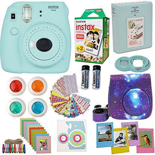 Fujifilm Instax Mini 9 Camera Ice Blue (USA) + Accessories kit for Fujifilm Instax Mini 9 Camera Includes Instant camera + Fuji Instax Film (20 PK) Galaxy Case + Frames + Selfie lens + Album And More