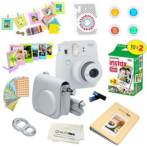 Fujifilm Instax Mini 9 Instant Camera SMOKEY WHITE w/ Film and Accessories – Polaroid Camera Kit