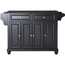 Cambridge Solid Black Granite Top Kitchen Island – Black – Crosley