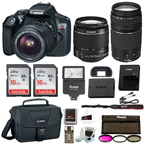 Canon EOS Rebel T6 Digital Camera: 18 Megapixel 1080p HD Video DSLR Bundle With 18-55mm &75-300mm Lenses 32GB (2 x 16GBSD Card) Flash Filter Kit & Bag – Professional Vlogging Sports & Action Cameras