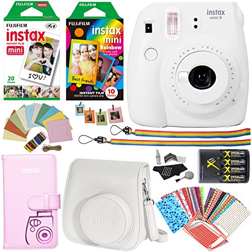 Fujifilm Instax Mini 9 Instant Camera (Smokey White), Rainbow Film Pack, Twin Pack Instant Film, Case, 4 AA Rechargeable Battery with charger, Square Photo Frames and Accessory Bundle