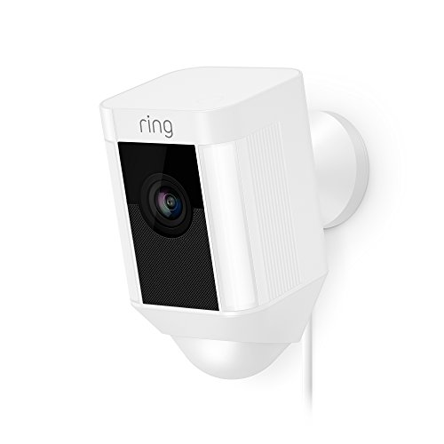 Ring Spotlight Cam Wired: Plugged-in HD security camera with built-in spotlights, two-way talk and a siren alarm, White, Works with Alexa