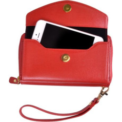 Royce Leather Saffiano Slim Cell Phone Wallet, Women's, Red