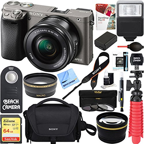 Sony Alpha a6000 Mirrorless Digital Camera 24.3MP SLR (Black) w/16-50mm Lens ILCE-6000L/B with Extra Battery Case 16GB Memory Deluxe Pro Bundle (Executive 64GB Kit, Grey)