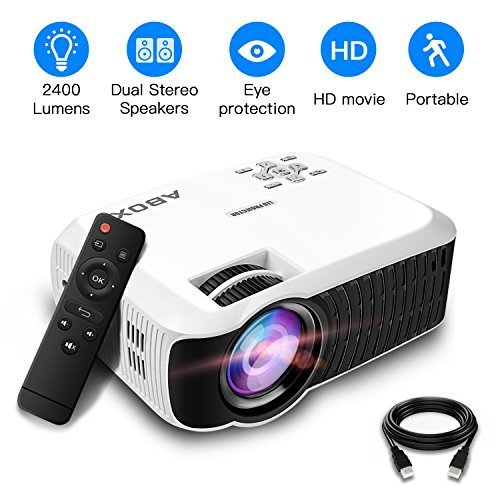 2018 Newest ABOX T22 Upgraded 2400 Lumens Portable LCD Video Projector, GooBang Doo Multimedia Home Theater Video Projector Support 1080p HDMI USB SD Card VGA AV for Home Cinema TV – White