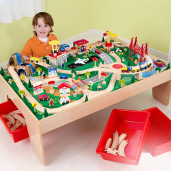 KidKraft Waterfall Mountain Train Set and Table, Multicolor