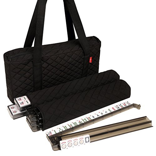 American Mah Jongg Set by Linda Li – Black Quilted Soft Bag – 166 White Engraved Tiles, 4 All-In-One Rack/Pushers