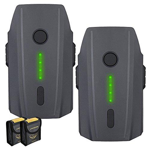 Powerextra Mavic Pro Battery, 2-Pack 11.4V 3830 mAh LiPo Intelligent Flight Battery Replacement for DJI Mavic Pro & Platinum & Alpine White Drone