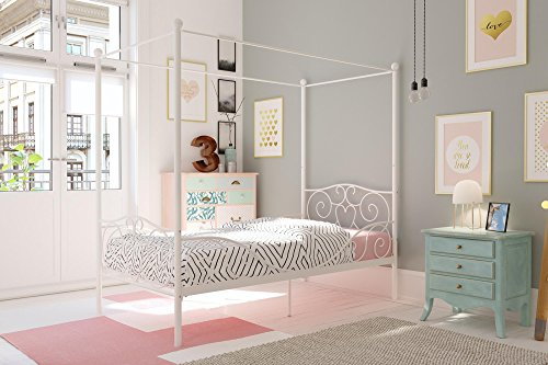 DHP Canopy Bed with Sturdy Bed Frame, Metal, Twin Size – White