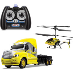 World Tech Toys MegaHauler Helicopter and Remote Control Truck Set, Yellow