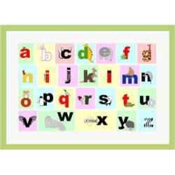 Metaverse Art Animal Alphabet Framed Wall Art, Multicolor