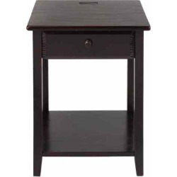Casual Home Night Owl Night Stand with USB Port, Brown