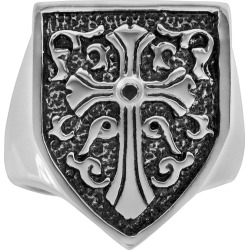 Stainless Steel and Black Immersion-Plated Stainless Steel Black Diamond Accent Cross and Shield Ring – Men, Size: 10, multicolor