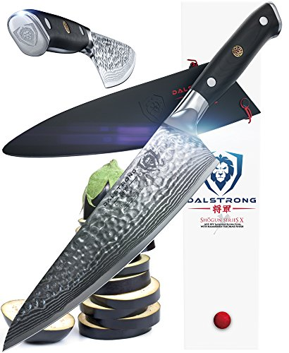 DALSTRONG Chef's Knife – Shogun Series X Gyuto – Japanese AUS-10V – Vacuum Treated – Hammered Finish – 8″ – w/Guard