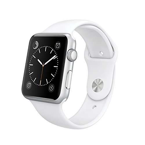 Original Apple Watch 42mm (fits 5.5″ – 8.2″ wrists) – Silver Aluminum Case, White Sport Band Edition (Retail Packaging)