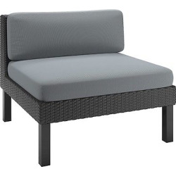 CorLiving Oakland Patio Middle Seat – Textured Black Weave/ Dove Gray