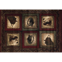 United Weavers Designer Contours Bears and Wolf Rug, Red