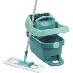 Leifheit 3-pc. Profi System Floor Wiper Mop, 2-Gallon Bucket with Mop Press & Microfiber Cleaning Pad Set, Blue