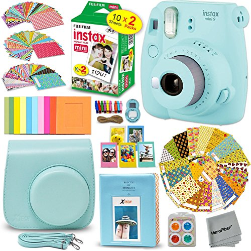 FujiFilm Instax Mini 9 Instant Camera ICE BLUE + EMOJI Film stickers + Fuji INSTAX Film (20 Sheets) + Blue Custom Fitted Case + Instax Album + Colorful Stickers + Fun Frames + 4 Colored Filters + MORE