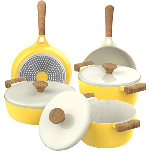 Vremi 8 Piece Ceramic Nonstick Cookware Set – Induction Stovetop Compatible Dishwasher Safe Non Stick Pots and Frying Pans with Lids – Dutch Oven Pot Fry Pan Sets for Serving – PTFE PFOA Free – Yellow