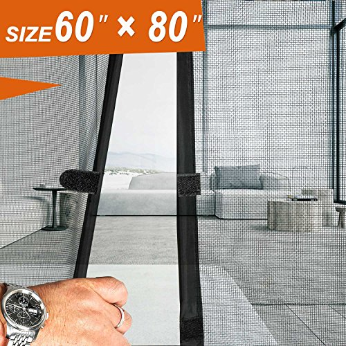 "Double Door Screen 60, Wide Mega Mesh 60 X 80 Fit Doors Size up to 58""W X 79""H Max with Full Frame Velcro French Door Magnets Keep Fly Mosquito Out"