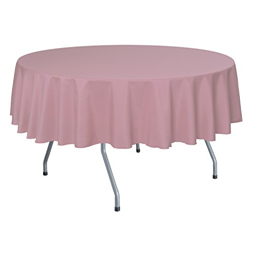 Ultimate Textile (10 Pack) 60-Inch Round Polyester Linen Tablecloth – for Wedding, Restaurant or Banquet use, Dusty Rose Pink