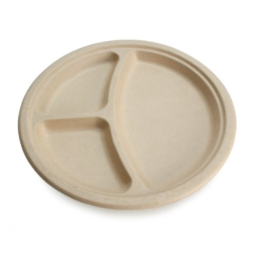 Earth's Natural Alternative Wheat Straw Fiber, Bagasse (Sugarcane) Tree Free 10″ 3-Compartment Plate, 20 Pack