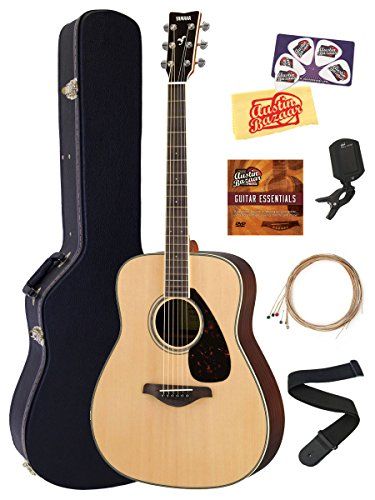 Yamaha FG830 Solid Top Folk Acoustic Guitar – Natural Bundle with Hard Case, Tuner, Strings, Strap, Picks, Austin Bazaar Instructional DVD, and Polishing Cloth