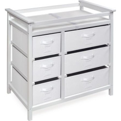 Badger Basket Modern Baby Changing Table with Six Baskets, Grey