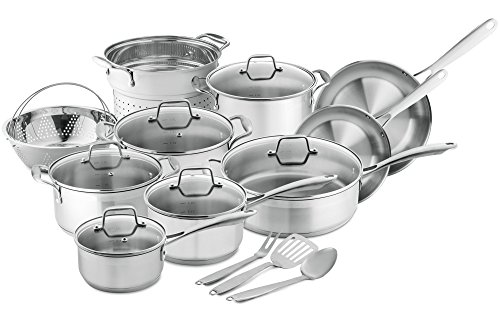 Chef's Star 17-Piece Pots & Pans Stainless Steel – 17 Piece Professional Grade Pots & Pans Set – Non Stick Induction Ready Cookware Set w/Impact Bonded Technology – Toxin Free, Dishwasher Safe