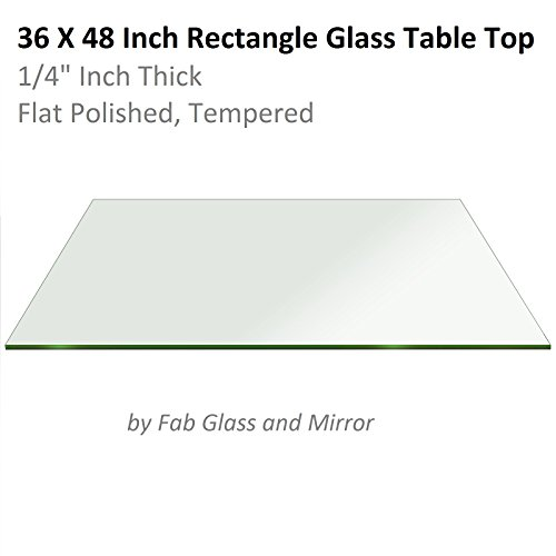 Fab Glass and Mirror 1/4″ Thick Flat Edge Tempered Eased Corners Rectangle Glass Table Top, 24″ X 48″