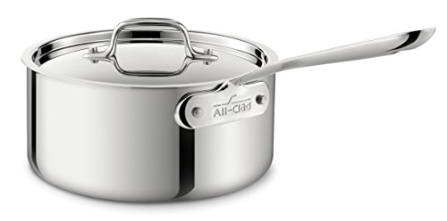 All-Clad 4203 Stainless Steel Tri-Ply Bonded Dishwasher Safe Sauce Pan with Lid/Cookware, 3-Quart, Silver