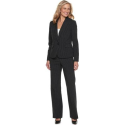 Women's Le Suit Pinstripe Jacket & Pant Suit, Size: 6, Black