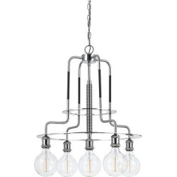 Transformer Metal Chandelier 60w X 5 (Edison Bulbs Included), Silver