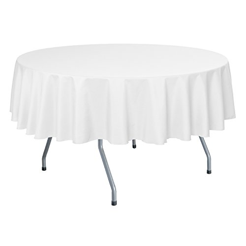 Ultimate Textile (10 Pack) 60-Inch Round Polyester Linen Tablecloth – for Wedding, Restaurant or Banquet use, White