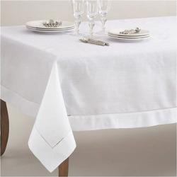 White Classic Hemstitch Border Design Tablecloth (70″x140″) – Saro Lifestyle