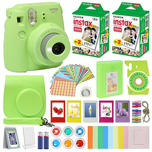 Fujifilm Instax Mini 9 Instant Camera Lime Green with Carrying Case + Fuji Instax Film Value Pack (40 sheets) Accessories Bundle, Color Filters, Photo Album, Assorted Frames, Selfie Lens + More