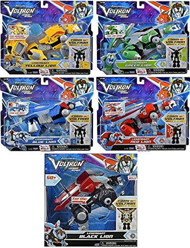 Playmates Voltron Red, Yellow, Blue, Green and Black Lion Assortment Figures Bundled Set of 5