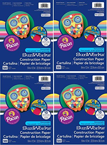 Pacon SunWorks Heavyweight Construction Paper, 9-inches by 12-inches, Assorted, 2,000 (Count) (CON01500)