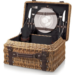 Picnic Time Champion Willow Picnic Basket, Black