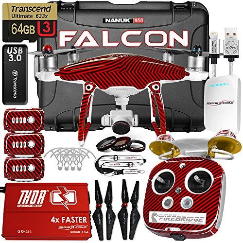 DJI Phantom 4 Advanced Falcon Edition Kit w/Firebridge Long Range System, Nanuk 950 Wheeled Case, 3 Batteries, Thor Charger, Carbon Fiber Props & Guards, Phantom4 Pro Lens Filters, 64GB Card